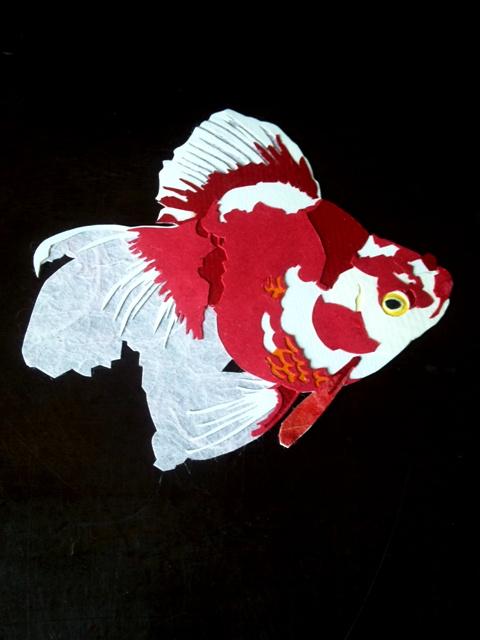 金魚<流魚> - 貼り絵